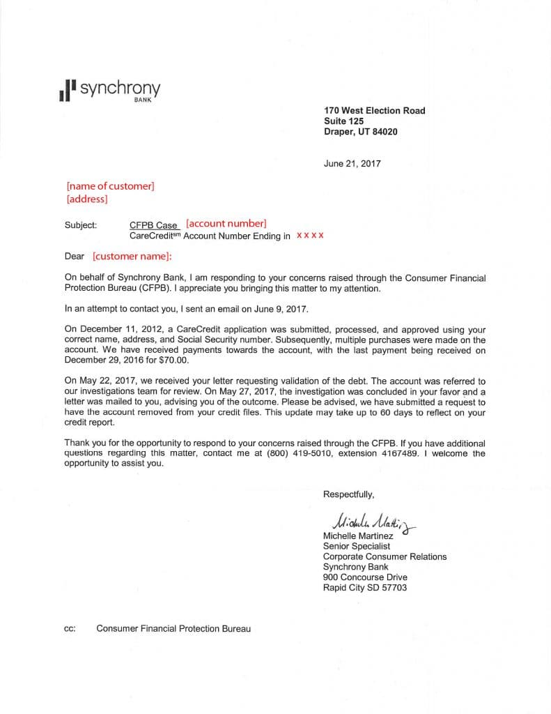 Victory letter from Synchrony Bank